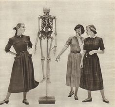 Three Pretty Young Girls Dresses From Macys Skeleton Vintage Magazine 50s