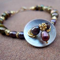 Purple Bracelet Vintage Button Yellow Gold by jewelrybycarmal, $50.00