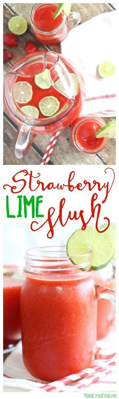 Strawberry Lime Slush Cocktail or Mocktail Recipe - the perfect drink for your next party! Slush Recipes, Cocktail Recipes, Smoothie Recipes, Drink Recipes, Smoothies, Strawberry Limeade, Strawberry Recipes, Easy Delicious Recipes, Vegan Recipes Easy