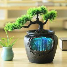 Feng Shui, Pond Decorations, Build A Terrarium, Pond Water Features, Water Pond, Artificial Tree, Resin Flowers, Art Flowers, Resin Material