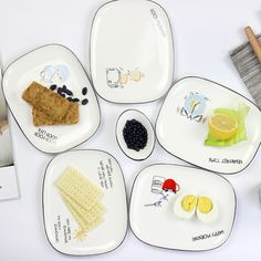 Boreal Europe style rectangle ceramic dishes cake dessert dish plate household ceramic dinner western food plate dishes #Affiliate
