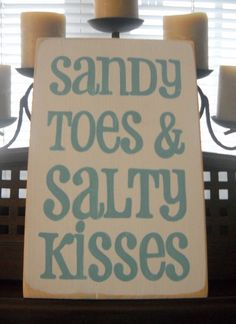 Sandy Toes and Salty Kisses Beach Coastal House Decor Wooden Sign Plaque U-Pick Color