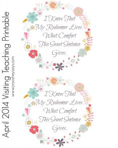 April 2014 Visiting Teaching Message Printable - Or so she says... Would be cute tag to attach to Easter treat