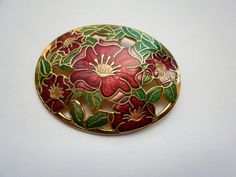 NOW SOLD! Vintage 1980s Cloisonne Enamel Oval Large Floral Brooch With Cut Out Detail 22ct Gold Plated Reds and Greens by LovesVintage43 on Etsy