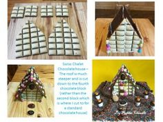 For our Easter table center piece, Michael and I made this Swiss Chalet Chocolate House. We made it from milk chocolate, which we tempered, and multicoloured mini Easter … Chocolate House, Swiss Chalet, Table Centers, Easter Table, Table Centerpieces, Holiday Decor, Home Decor, Centerpieces, Centerpieces