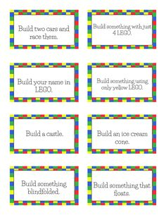 Free Printable LEGO Challenge Cards A free Printable 30 Day LEGO challenge calendar to use anytime during the year. Lego Club, Lego Games, Lego Toys, Lego Math, Stem Projects, Lego Projects, Lego Challenge, Challenge Cards, Lego Classroom Theme