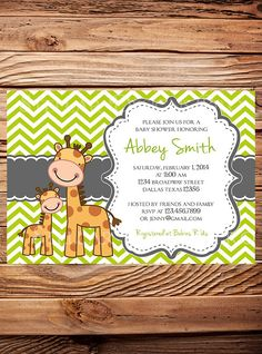 Hey, I found this really awesome Etsy listing at https://www.etsy.com/listing/176239690/giraffe-baby-shower-invitation-boy-girl