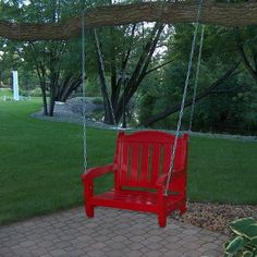 how to decorate around  outdoor swings on a budget | Red Garden Swing Chair in Patio Design Ideas