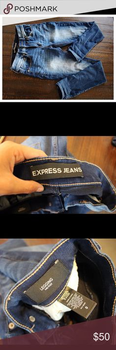 Express women's mid rise Jean leggings. Tight fitting women's express jean leggings. Dark blue with a faded wash in the thigh area. Express Jeans Skinny