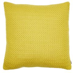 45cm Yellow Knitted Cushion
