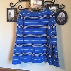 Blue color stripe thick cotton pullover sweater 100% cotton Ralph Lauren Sweaters