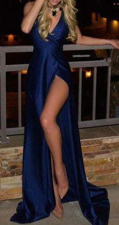 2017 Custom Made Charming Royal Blue Prom Dress,Spaghetti Straps Evening Dress,Side Slit Prom Dress