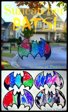 {Suncatcher BATS!!} Spookify your trees or windows for Halloween with this EASY art project for kids!! [In Lieu of Preschool] #bats #Halloween #crafts #kids