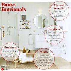 Consells: banys funcionals. Si tens un bany petit sabràs que la funcionalitat és el principi més important a l'hora de dissenyar-lo. Això sí, sense oblidar la #decoració.   Avui et deixem quatre elements per tenir en compte a l'hora de crear un #bany #funcional.