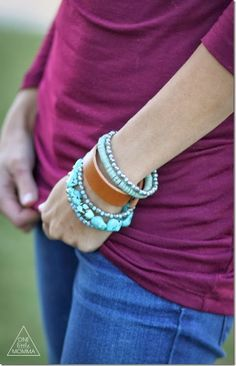 Mix a thin leather cuff with other bracelets #accessory #style