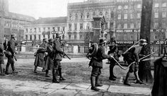German troops with flame-throwers and grenades protecting an underground station in Berlin, during the German revolution of 1918-1919..