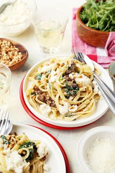 Creamed Spinach Pasta with Sausage and Pine Nuts | Joy the Baker