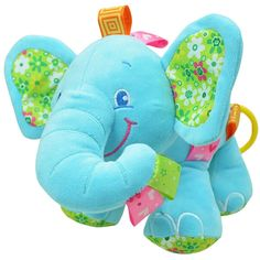 - Adorable elephant stuffed toy for baby, 0 to 12 months - Pull to hear soft lullaby song that will help to calm and soothe baby - Elephant features nice bright colors that will keep baby's attention.