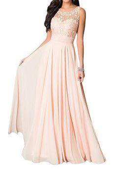 Missdressy Damen Elegant Chiffon Charmeuse Applikation Rundkragen Aermellos Lang Abendkleider Partykleider Festkleider Tanzenkleider-36-Pink