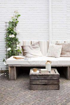 diy sofa green plant outside living pastel colours cushions sofa ☆