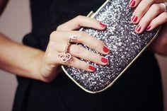 Cute Sequin clutch & ring