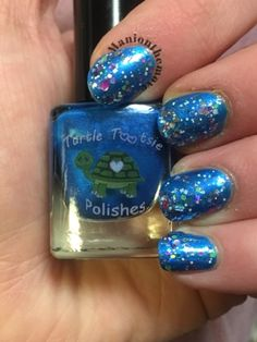 Blue Sparkles using EMT by Turtle Tootsie Polishes & Celebration by Anchor & Heart Lacquer
