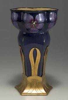 Art Nouveau Jugendstil Orvit Pewter and Ceramic Vase, Germany, c. 1900, lobed mouth, body decorated with pansies, pentagonal gilt pewter base marked Orvit, ht. 9 1/2 in.