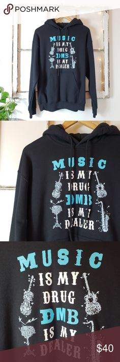 """DMB • Dave Matthews Band Music is My Drug Hoodie Black heavyweight hoodie with great print on front. I absolutely love this but I have never worn it!   Approx. Measurements:  ꊛ 21"""" armpit to armpit ꊛ 26"""" length  Excellent new condition with no rips, holes or stains. Gildan Tops Sweatshirts & Hoodies"""