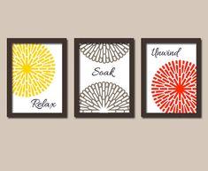 Relax Soak Unwind Yellow Red Brown Flourish Flower Artwork Set of 3 Bathroom Prints WALL Decor ART Picture Match