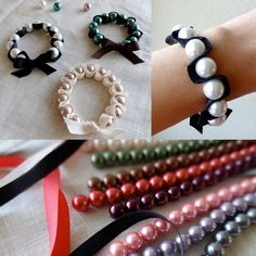 """Twinkle and Twine: Tutorial: Ribbon and Pearl Stretch Bracelets. materials: collapsible eye needle, 12 mm glass pearls (12-15), 1 yard of 3/8"""" ribbon, 2 ft stretch magic cord (.5mm thickness), and fray check"""
