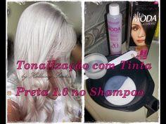 Tonalizacao com tinta preta no shampoo - Toning with black ink on shampoo Grey And White, Black, Shampoo, Hair Beauty, Hair Styles, Hat Patterns, Youtube, How To Make, Dyed Natural Hair