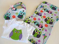 FREE USA SHIPPING Sweet Owl Applique Onesie Bib by Stitchedbygigi