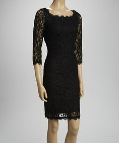 This Black Three-Quarter Sleeve Lace Dress is perfect! #zulilyfinds