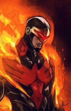 Cyclops as a member of the Phoenix Force. Avengers vs X-men