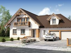 Projekt domu DA Kaspian 2 (N) - DOM DS1-99 - gotowy projekt domu Home Fashion, Cabin, House Styles, Home Decor, Building Homes, Decoration Home, Room Decor, Cabins, Cottage