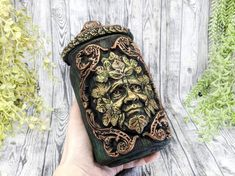 Greenman Apothecary Jar Potion Bottle / Nature Green Man Apothecary Bottle Pagan Decor Wicca God Statue Wiccan Altar Witchy Decor Witch Gift Apothecary Decor, Apothecary Bottles, Wiccan Decor, Wiccan Altar, Witch Jewelry, Pagan Jewelry, Forest Color, Potion Bottle, Witch Aesthetic