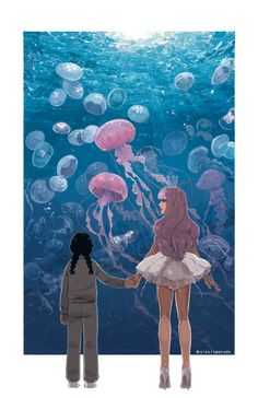 "alexisparade: ""a new print for metrocon!! i LOVED the Princess Jellyfish anime, and while i still don't think i'm ready to look at another reference photo of a jellyfish ever again, i'm really happy with how it turned out :) water's soooo relaxing to..."