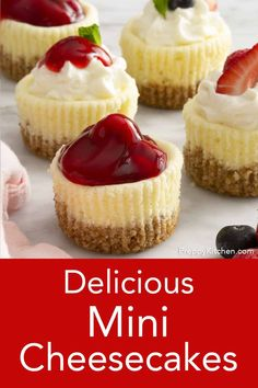 From Preppy Kitchen these delicious mini cheesecakes with a crunchy graham cracker pecan crust bake up in no time and are almost too easy to make! You can top them with whipped cream, berries, pie filling, melted chocolate, chopped nuts or serve plain! Mini Cheesecake Recipes, Best Cheesecake, Mini Cheesecake Cupcakes, Mini Strawberry Cheesecake, Plain Cheesecake, Easy No Bake Cheesecake, Cheesecake Toppings, Pumpkin Cheesecake, Mini Cheesecakes