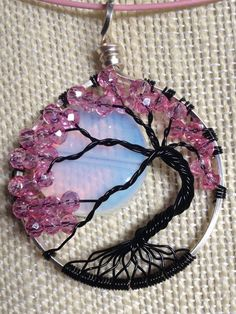 Bonsai Tree of Life Necklace Pendant with Crystals gemstone moon handmade in USA