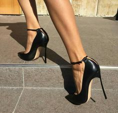 Black Smooth Leather Women Pointed Toe Ankle Buckle Pumps Deep V Back Ladies  Blade Heel Shoes Spring Fashion Female Dress Shoes 7400cdfc2dde