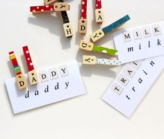 Put nekudos on the clothes pins to build words