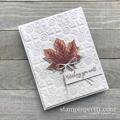 Tin Tile Fall Card & 3 Embossing Folders Back In Stock! Gather Together Bundle & Tin Tile Embossing Folder from Stampin' Up! Card by Mary Fish, Stampin' Pretty Fall Cards, Christmas Cards, Prim Christmas, Stamp Up, Stamp Sets, Mary Fish, Tin Tiles, Leaf Cards, Embossed Cards
