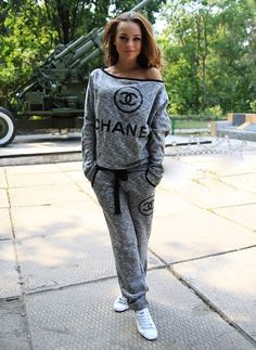 Sweater: grey, chanel, tracksuit, one shoulder, sportswear, swag, girly - Wheretoget