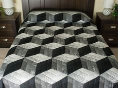 Tumbling Blocks Nine Patch Quilt -- exquisite cleverly made Amish Quilts from Lancaster (hs7853)