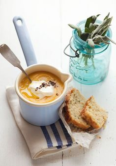 Leek, Butternut Squash and Potato Soup with Apple, Gruyere and Sage Muffins