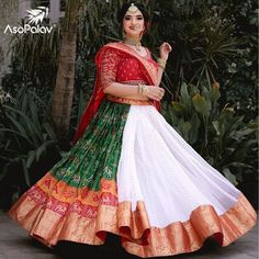 White Panetar wedding lehenga with red lehenga blouse design. Planning to do your wedding shopping this month? Then you need to make note of these Designer Bridal Sale that are happening both online and in store. Choli Designs, Lehenga Designs, Blouse Designs, Dress Designs, Blouse Patterns, Sewing Patterns, Garba Dress, Navratri Dress, Lehnga Dress