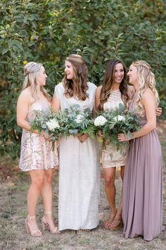 Bridesmaids Mismatch Dresses Neutral Colors Long Short Sequin Solid Greenery White Flower Bouquets | Gale-Vineyard-Chico-California-Wedding-Engagement-Photographer