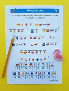 Mesaj secret de vară Fun Worksheets For Kids, Activities For Kids, Art Classroom, After School, Kids Education, Letters, Centre, Puzzle, Basket