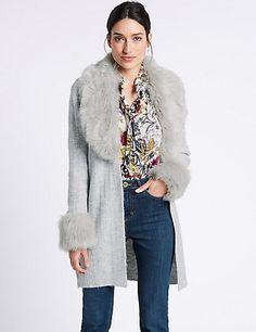 Open Front Fur Coatigan | M&S