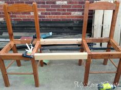 using scrap wood to make two chairs into a bench